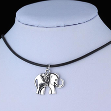 Vintage Tibetan Silver Elephant Charms Choker Pendant Necklace Black Rubber Cord Chain Hippy Jewelry Christmas Gift