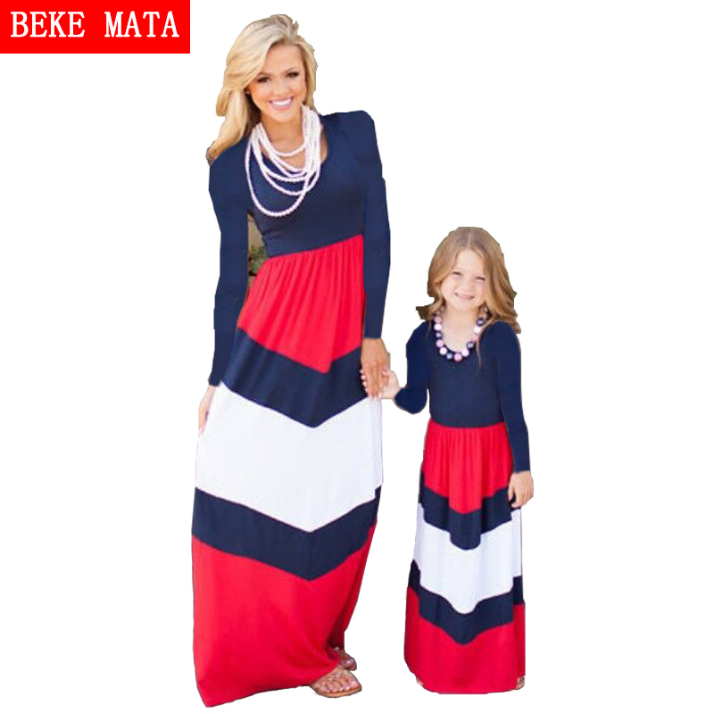 BEKE MATA mātes meitas kleitas 2017 ar svītrainām ģimenei - Bērnu apģērbi - Foto 1