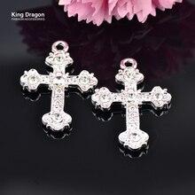 Новое поступление, стразы, крестообразные украшения, используются для ожерелья или украшения, 30 мм* 22 мм, 10 шт./лот, серебряный цвет, KD531