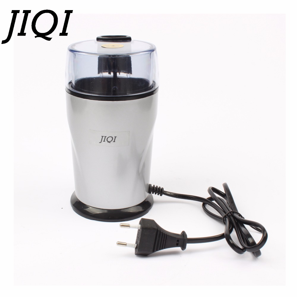 JIQI Electric Coffee grinder 220v-240V ELECTRICAL COFFEE herbs mill beans nuts grinding machine stainless steel blades Euro plug electric coffee grinder coffee maker with coffee beans mill herbs nuts moedor de cafe 220v home appliances for home