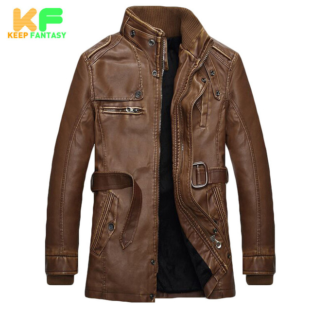 Winter Stand Collar Warm Men's Leather Jacket 2016 Men Motorcycle Pilot Jackets Faux Fur Coats Male PU Leather Coat MLS1604