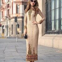 Бутон Королевский Ретро платье с вышивкой женские взлетно посадочной полосы марка на осень зиму в европейском и американском стиле модный