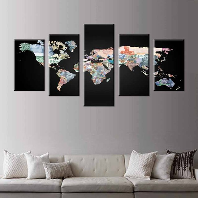 5 pcsset abstract black world maps canvas prints painting modern 5 pcsset abstract black world maps canvas prints painting modern money symbols maps wall gumiabroncs Gallery