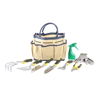 THGS 9 Piece Garden Tool Set Includes Garden Tote And 6 Hand Tools Heavy Duty Cast Aluminum Heads Ergonomic Handles