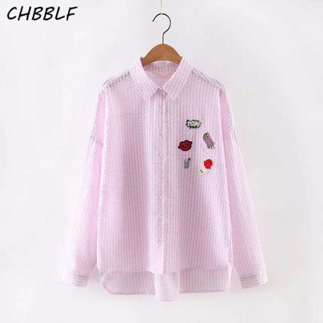 New Spring Europe Lapel Shirt Badge Patch Appliques Ladies Loose Blouse Casual Striped Blusa Feminina