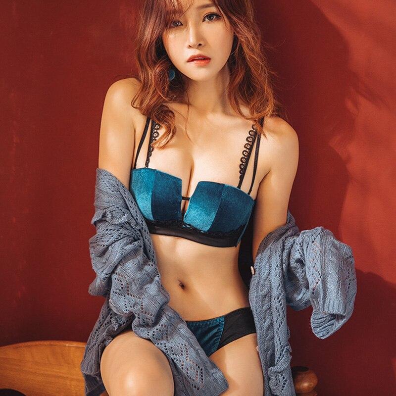 2019 New Fashion Women Velvet   Bra     Set   Underwear Sexy Square Cup Soft Trim Lingerie   Set   Push Up Brassiere Panties   Sets