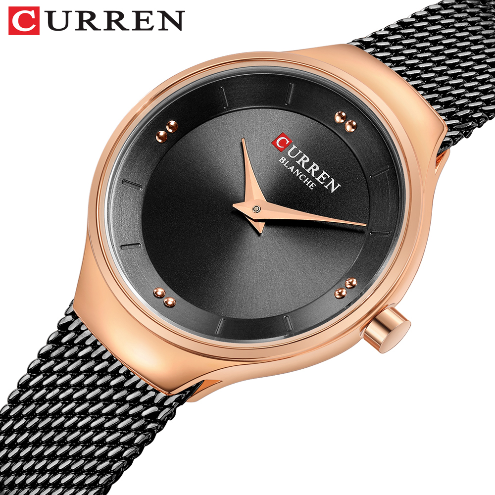 CURREN Luxury Casual Ladies Watch Waterproof Rose Gold Steel Mesh Quartz Watch Women Fashion Dress Watches Clock Relogio Feminin