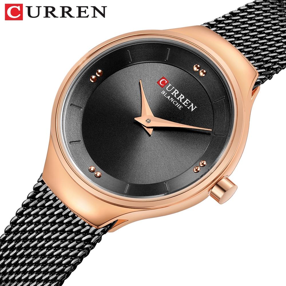 CURREN Luxury Casual Ladies Watch Waterproof Rose Gold Steel Mesh Quartz Watch Women Fashion Dress Watches Clock Relogio Feminin