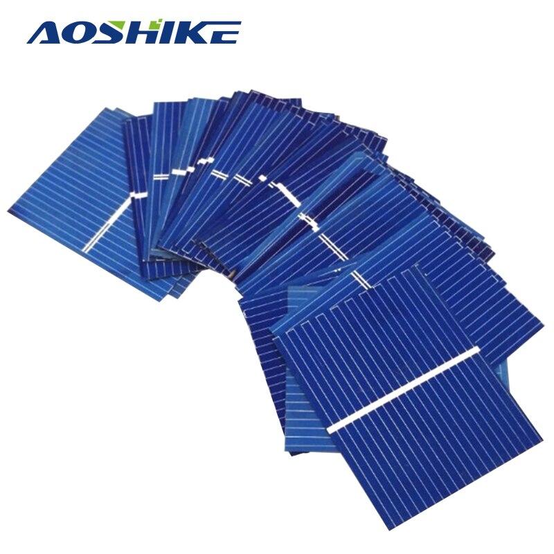Aoshike 100pcs 0.5V 0.17W Solar Panel Sunpower Solar Cell photovoltaic panels Polycrystalline DIY Solar Battery Charger 39x26mm