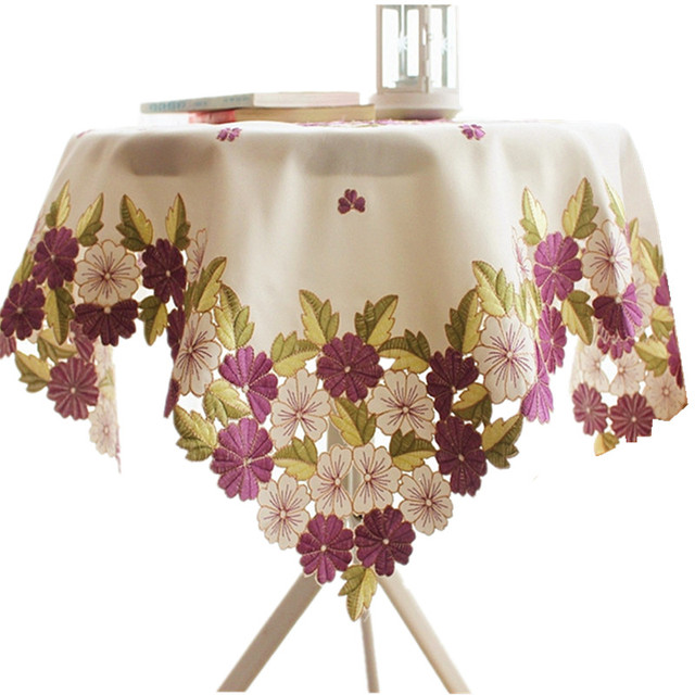 [WIT]110x110cm Round Tablecloths Cutwork Handmake Embroidered Tablecloth  Purple Floral Table Cloths Elegant Table