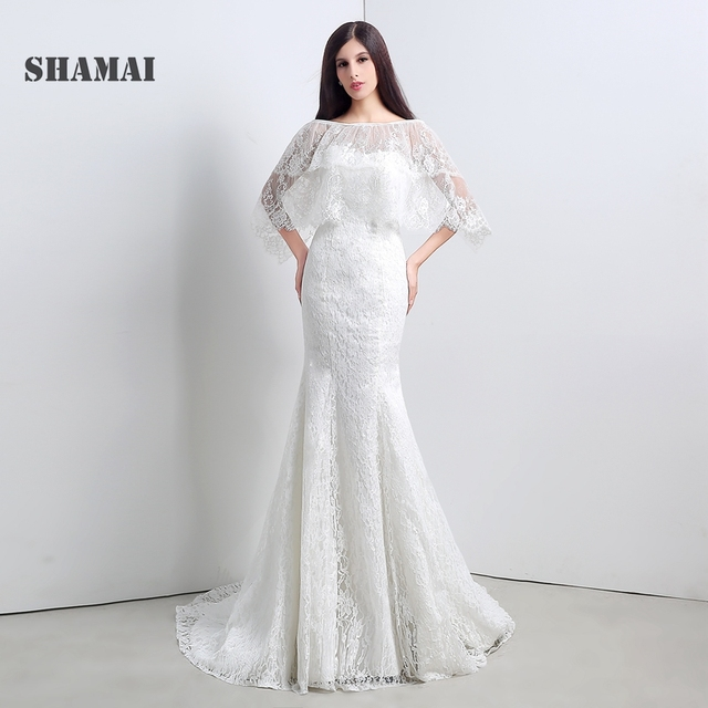 SHAMAI In Stock Cheap Ivory Lace Bridal Gowns Mermaid Free Shipping ...