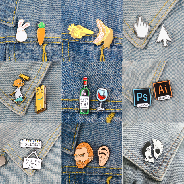 Wine time PS AI Cursor icon Animal set Brooches and Pins
