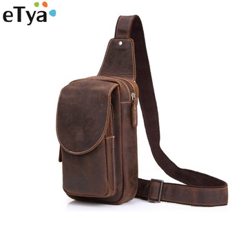 eTya Men Messenger Bags Genuine Leather Men's Bags Travel Chest Pack Sling Chest Leather Shoulder Bags Crossbody Bags for Men