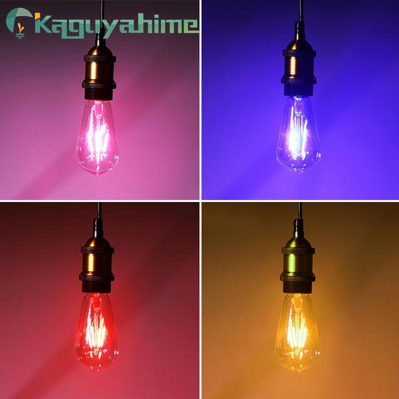 Kaguyahime Led Edison Filament Light Blue Red Pink Green Color ST64 COB LED Bulb E27 Lamp 220v Retro Globe Replace