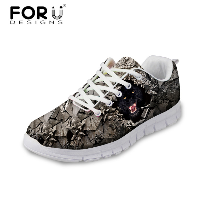 FORUDESIGNS 2018 Autumn Women Casual Flat Shoes Rock Animal Print Ladies Comfortable Mesh Sneakers Lace Up Flats Zapatos Mujer forudesigns 3d flowers pattern women casual sneakers comfortable mesh flats shoes for female girls lace up shoes zapatos mujer