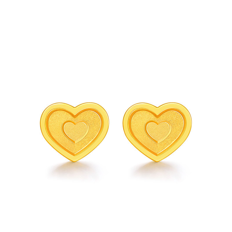 все цены на Solid 999 24K Yellow Gold Earrings Women Heart Stud Earrings 1.28g онлайн