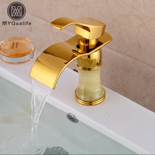Good Quality Brass & Marble Golden Basin Sink Faucet Bathroom Mixer ...