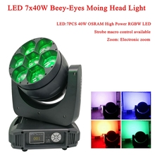 Moving Head LED Bead Wash Stage Lighting 7x40W Beey-Eyes RGBW 4IN1 High Power DJ Professional Light For Christmas Party