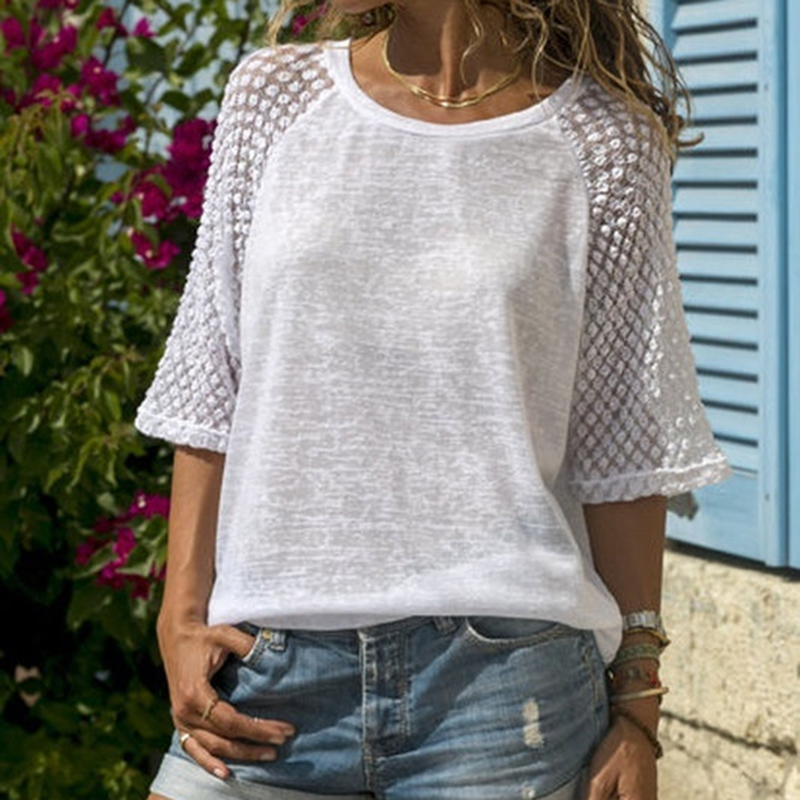 Bigsweety Vetement Femme 2018 Fashion Lace Patchwork O-Neck Tshirt Women Three Quarter Tee Tops  Casual Female T-shirts S-XL