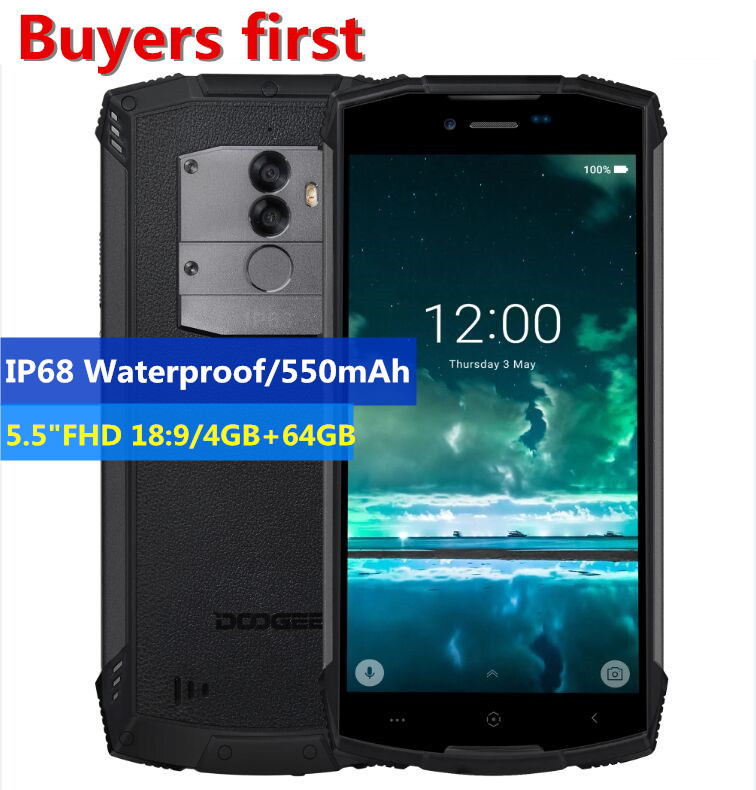 DOOGEE S55 4 gb 64 gb IP68 Étanche 5.5 HD + Téléphone portable Android 8.0 MTK6750 Octa Core 13MP 5500 mah 5V2A Rapide Chargeur Smartphone