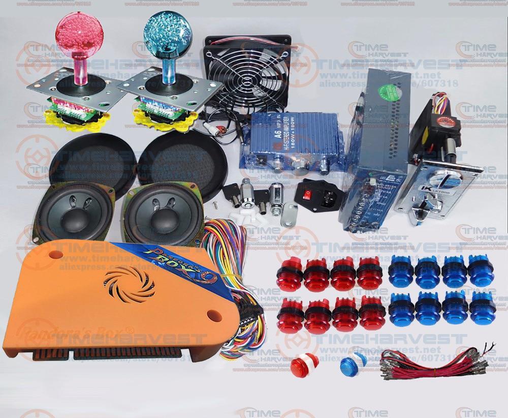 ส่วนอาเขตชุดรวมกลุ่มกับ 1500 ใน 1 กล่องแพนดอร่า 9 หลายเกม LED จอยสติ๊ก 12 โวลต์ไฟ LED เรืองแสงปุ่ม Jamma เทียมเหรียญเมค