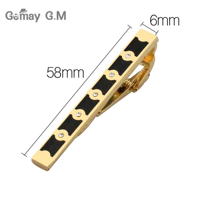 Yeni altın kravat klip erkekler için klasik ölçer kravat klipler alaşım kravat iğnesi altın kravat yaka Pin kristal iş Corbata