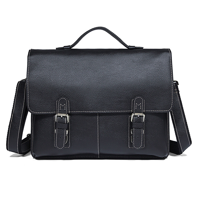 Durable Thick Genuine Leather Men's Briefcase Men Messenger Bags Laptop Portfolios Handbag Men Leather Bag  Mens Briefcase Bags