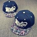 2016 novas cartas da moda bordado snapback chapéus flor do caju ameba Chapéu de aba Cap Dança Hip Hop Bonés de Beisebol Para Os Homens mulheres