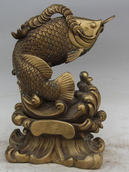 Jp S0524 12 Quot Chinese Brass Feng Shui Year Wealth Fish Barracuda Goldfish Statue Sculpture