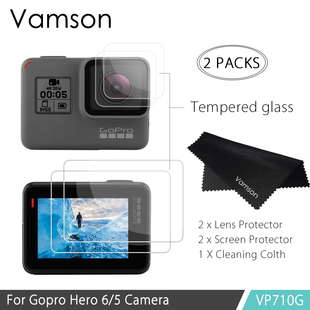 Vamson for GoPro Hero 6 Hero 5 Action Video Camera Tempered Glass Lens/Screen Protector Accessories +Lens Cover VP710G