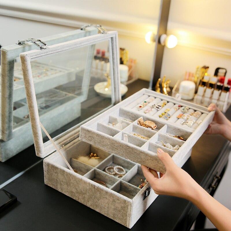 Exibição de Jóias De Veludo Cinza ANFEI Maleta com Tampa De Vidro Caixa de Armazenamento Caixa de Jóias Anel de Exibição Tray Titular OrganizerZ1511