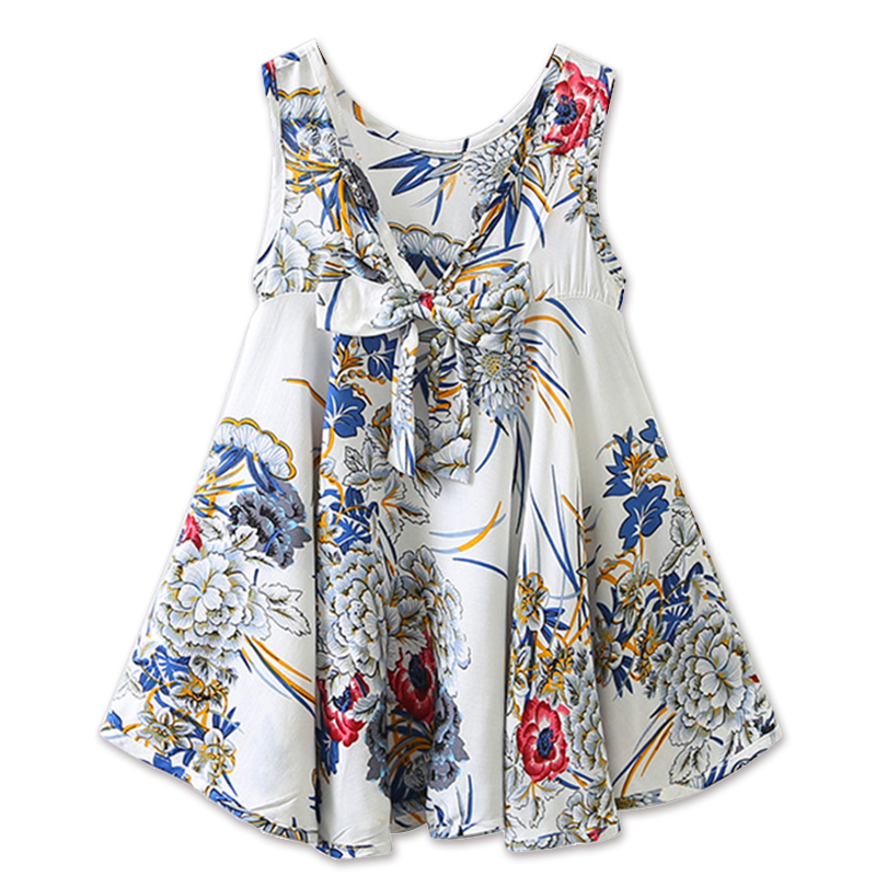 Children Clothes Dress 2018 New Summer Style Kids Girls Sleeveless Bow Design Princess Dress Little Girls Backless Flower Dress girls dress summer 2017 new my kids dress big bow and embroidery animal flower girls princess children dress baby girls vestido