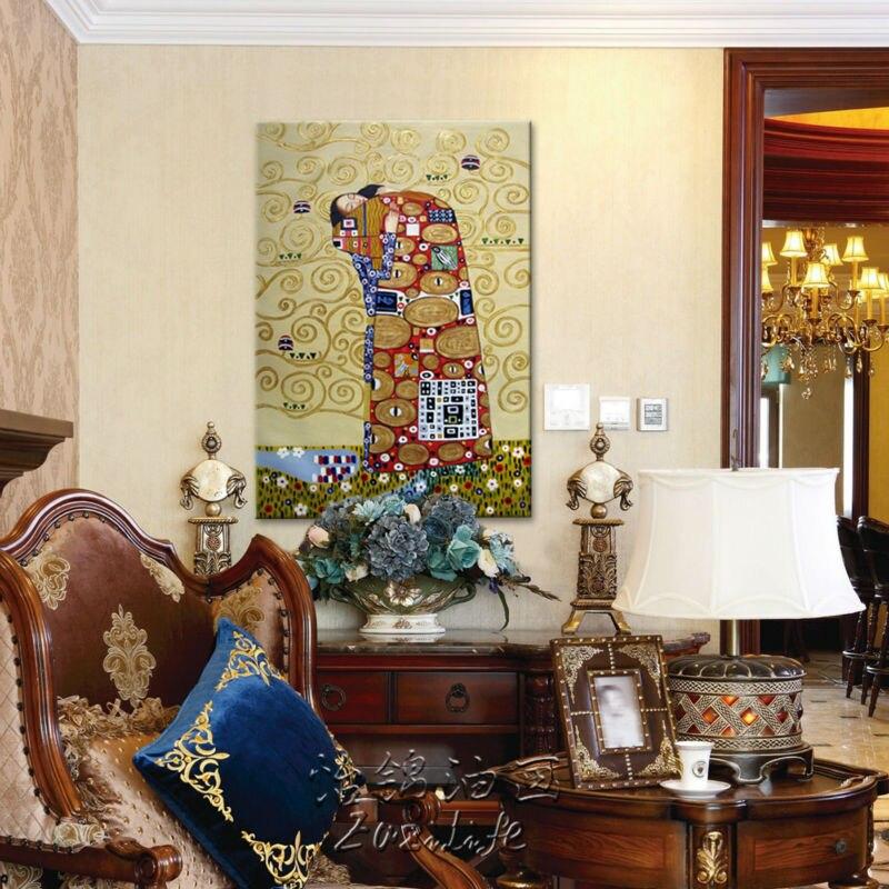 Gustav Klimt peinture à l'huile sur toile peint à la main les peintures de baiser pour salon Art mural photos pour salon décor à la maison - 4