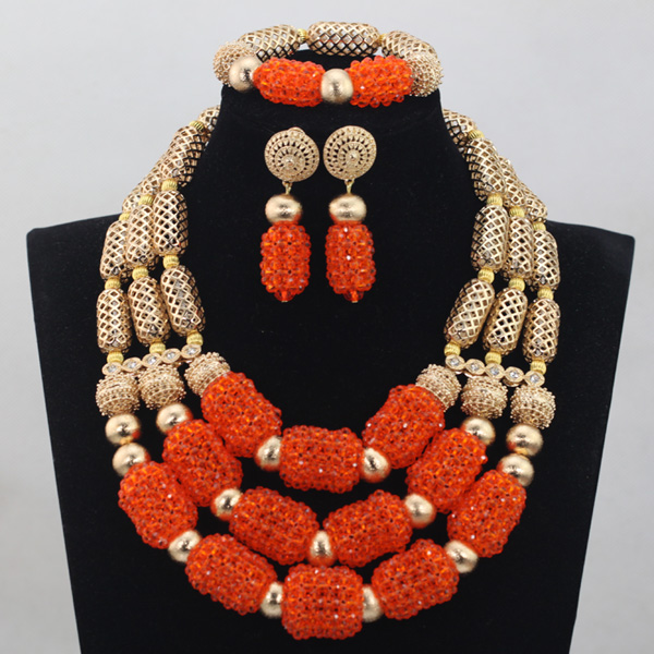 2017 Fashion Orange Handmade Crystal Beads Jewelry Sets New African Wedding Necklace African Accessory Free ShippingABH052 african orange red beads necklace sets orange gold crystal balls beads women fashion jewellery sets qw1191
