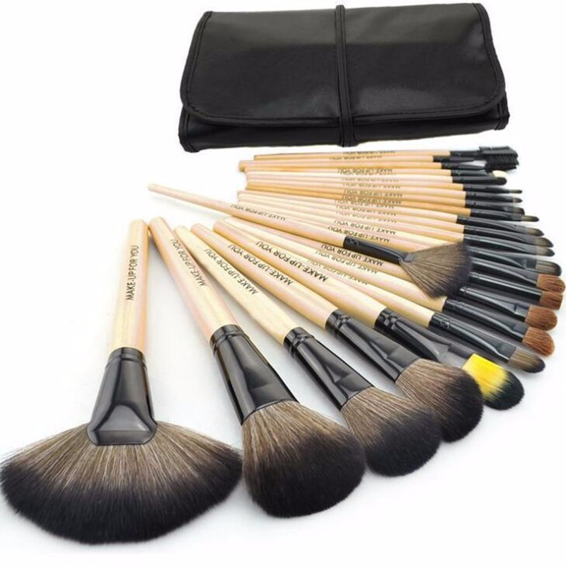 HOT !! Professional 24 Pcs Makeup Brush Set Tools Make-up Toiletry Kit Wool Brand Make Up Brush Set Case