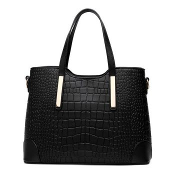 Women handbag leather hand bag crocodile shoulder messenger bags Women tote Bag + purse - Set of 2 1