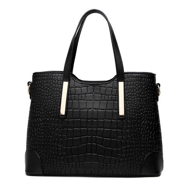 Women handbag leather hand bag crocodile shoulder messenger bags Women tote Bag + purse - Set of 2 1