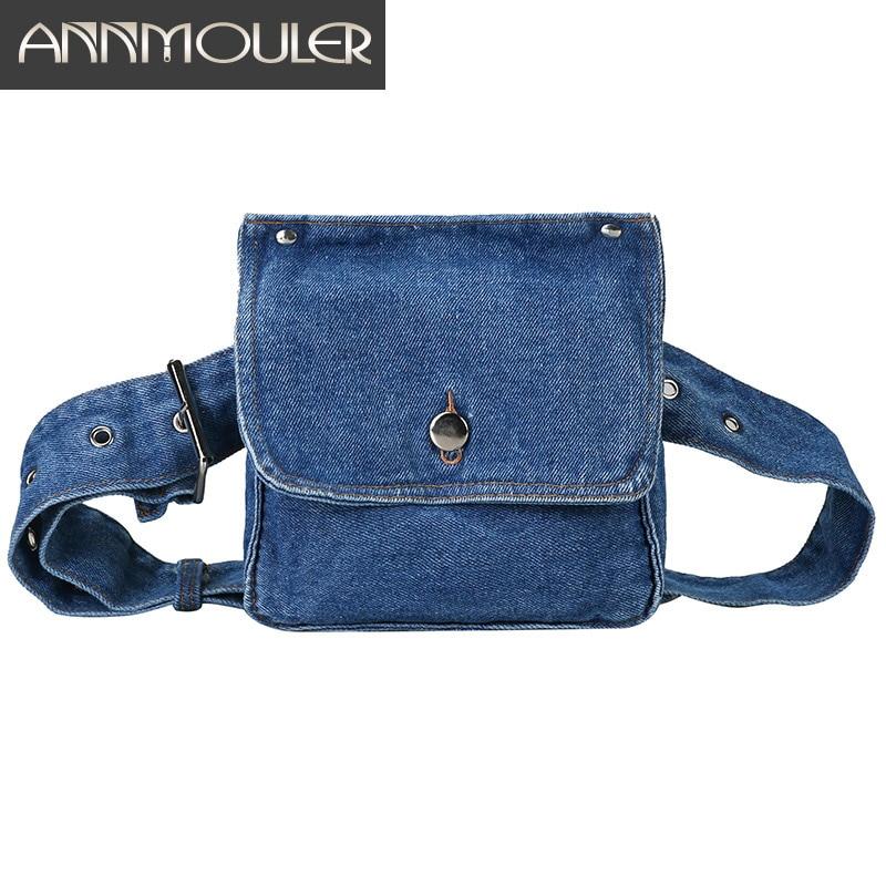 Annmouler Jeans Waist Bag For Women Pockets Fanny Pack Adjustable Blue Belt Bag Side Fanny Bag Phone Pouch Bum Bag