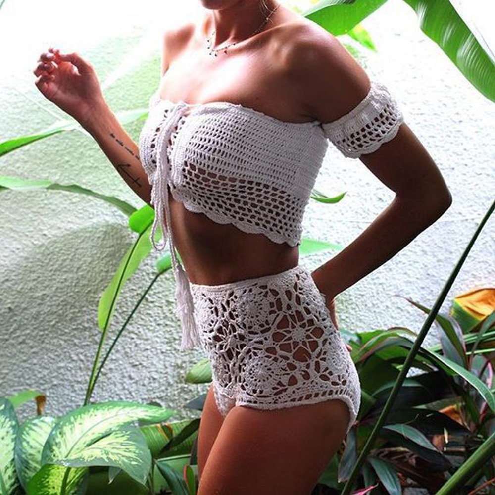 2018 Handmade Knitting Crochet White Bikini Lace Crop Top Short Tank Swimsuit Beach Summer Gift Off The Shoulder Style Swimwear stylish off the shoulder ribbed crop top for women