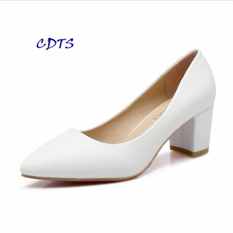 CDTS Plus:34-38 39 Spring/Autumn 5.5cm heels pointed toe women shoes sexy Square heel wedding pumps