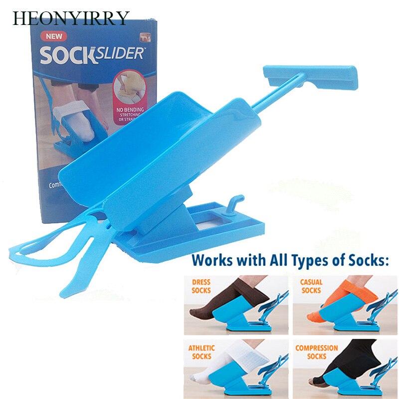 1pc Sock Slider Aid Blue Helper Kit Helps Put Socks On Off No Bending Shoe Horn Suitable For Socks J35 sock aid kit sock helper slider fast
