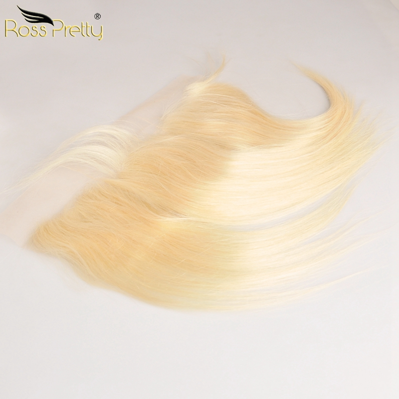Lace Frontal Blonde Straight Hair Pre Plucked 13x4 Front 613 Color Middle And Free Part Brazilian Remy Human Hair Ross Pretty