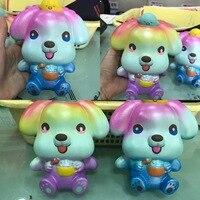 16CM Jumbo Rainbow Big Ear Dog Phone Straps DIY Decor Kid Fun Toy Colorful Animal Squishy