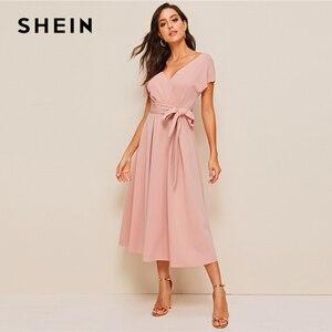 Image 2 - SHEIN Zipper Back Surplice Neck Belted Flare Dress Elegant Women Summer Dress Solid Deep V Neck High Waist Dress