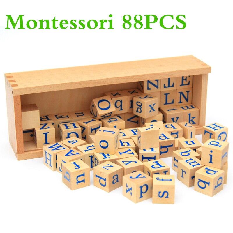 88 pièces Alphabet bloc de construction jouets anglais Alphabet apprendre enfants Montessori langue apprentissage aide à l'enseignement lettre bloc jouets enfant