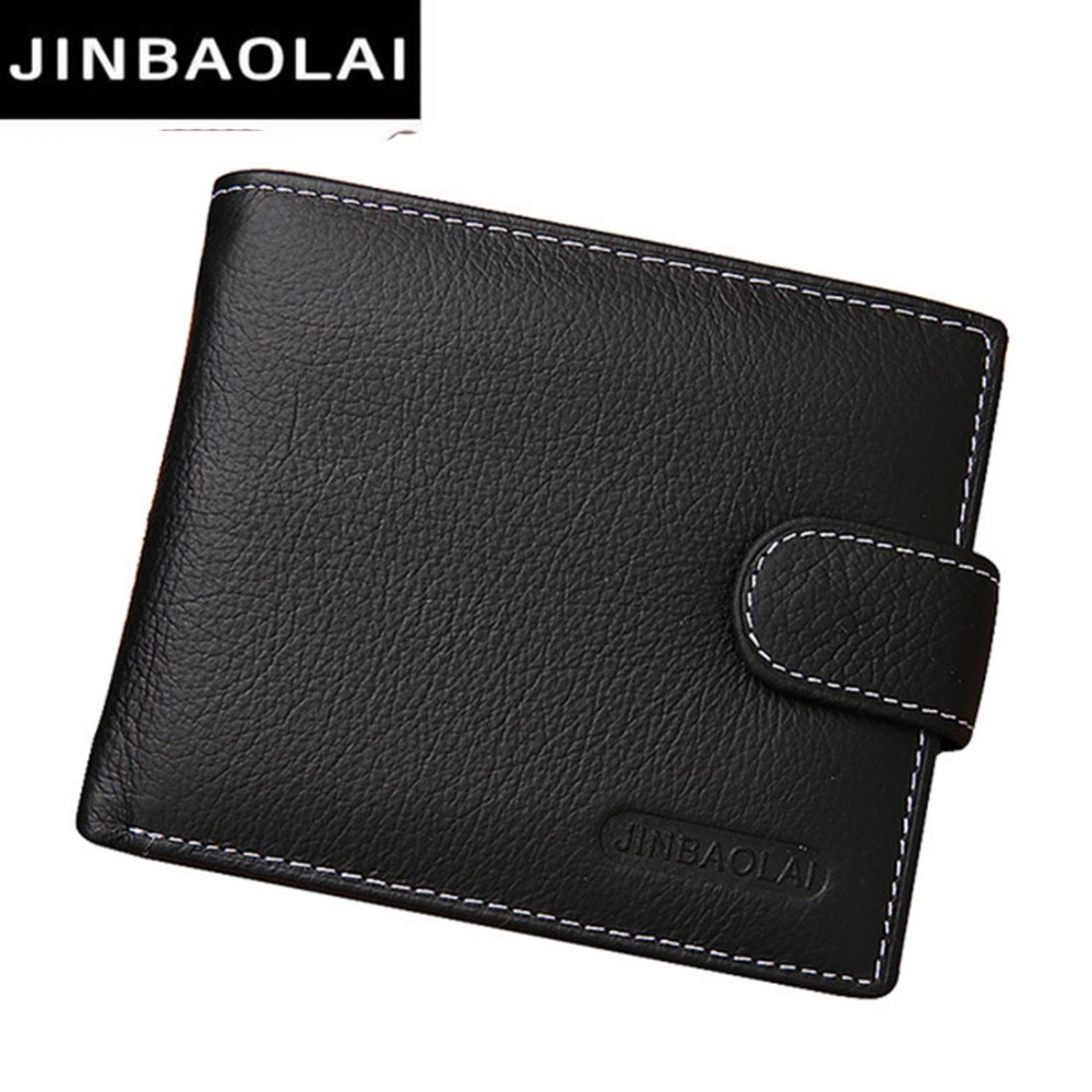 JINBAOLAI Leather Men Wallets Solid Sample Style Zipper Purse Man Card Horder Leather Famous Brand High Quality Male Wallet  ...