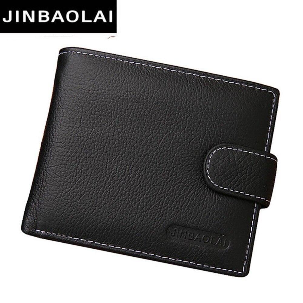 JINBAOLAI Leather Men Wallets Solid Sample Style Zipper font b Purse b font Man Card Horder