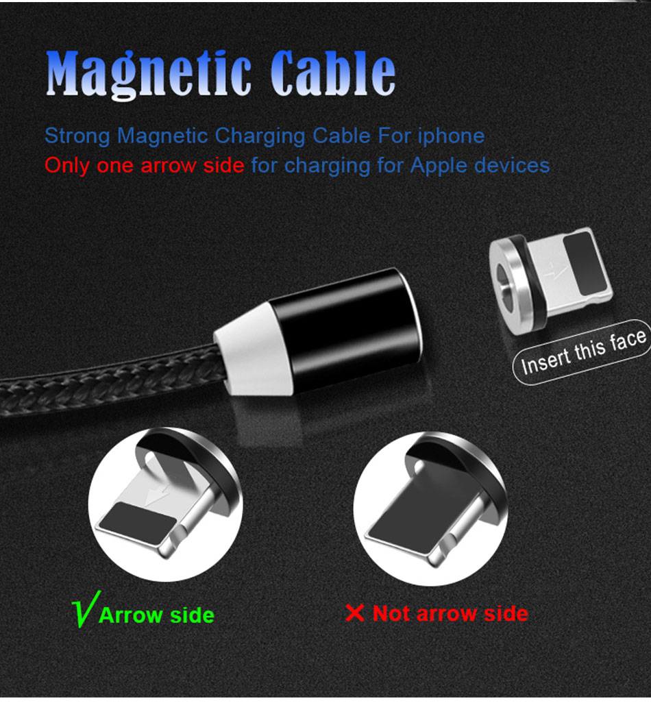 NOHON Strong Magnetic Long Charger Cables 8 Pin For iPhone XS MAX XR X 8 Plus Charging Cable Micro USB Type-C For Samsung S8 2M (5)