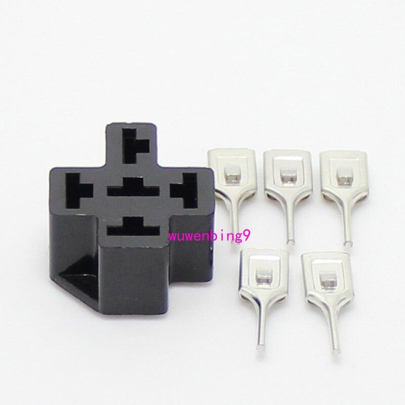 20 Sets Automotive Relay Socket 5 Pin Pcb Car Relay Holder