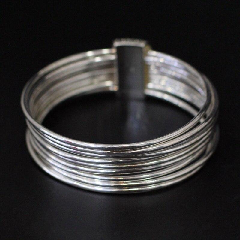 Diseño Original hecho a mano 9 brazalete redondo de plata 100% pulsera de plata Real de Ley 925 para mujer joyería de geometría SB27-in Pulseras y brazaletes from Joyería y accesorios    3